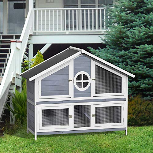 Purlove Rabbit Hutch Wood House Pet Cage For Small Animals (Rabbit Hutch #2)