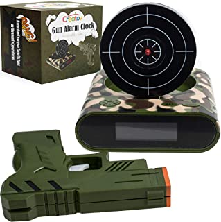 CREATOV DESIGN Target Alarm Clock with Gun - Infrared Target and Realistic Loud Sound Effects Fun Pistol Game Clocks for Heavy Sleepers Kids Boys Girls Infrared 0.8 MW Camouflage