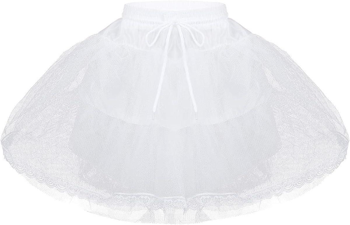 MSemis Kids 3 Layers Net White Underskirt Flower Girl Bridesmaid Petticoat Dress Hoopless Crinoline Slip