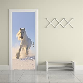 Fymural Door Wall Mural Paper Stickers White Horse Vinyl Removable 3D Decals 30.3x78.7,White