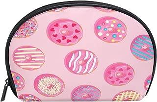 ALAZA Donut Dessert Half Moon Cosmetic Makeup Toiletry Bag Pouch Travel Handy Purse Organizer Bag for Women Girls