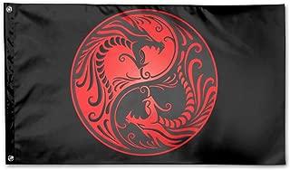WINDST Personalized Yin Yang Dragon Logo Garden Flag 3x5 ft Outdoor Garden Decorative Banner Black
