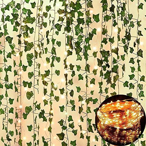 25m 12 Stück Efeu Blätter Girlande Künstlich Gefälschte Pflanzen mit 100 LEDs Lichterketten Lamp String Hängend für Home Garten Hochzeit Gefälschte Grün Decor………