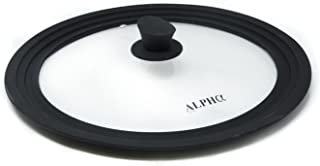 Alpha 60005 Living Universal Silicone Cookware Pots and Pans Vented Tempered Glass-Graduated Lid with Easy Grip Fits 9.5