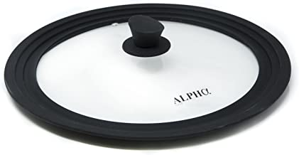 Alpha Living Universal Large Pots and Pans, Vented Tempered Glass-Graduated Lid Fits 11 inch, 11.5 inch, 12 inch Cookware