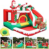 Inflatable Bounce House with Slide, Large Kids Inflatable Bouncer w/Air Blower, Ball Pool and Safety Net, Jumping Bouncy Castle Slide for Backyard Jump House (Multicolor - A)