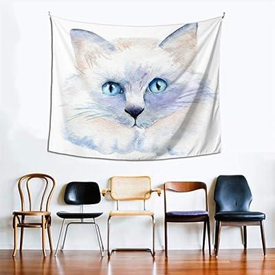Tapiz de tela de pared Un gato con ojos brillantes Colgante de pared exterior 60x51 pulgadas (152x130cm) Colgante de pared Arte Decoración del hogar Poliéster para sala de estar Dormitorio Dormitorio