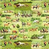 Fabulous Fabrics Panama Digitaldruck Pferde – grün —