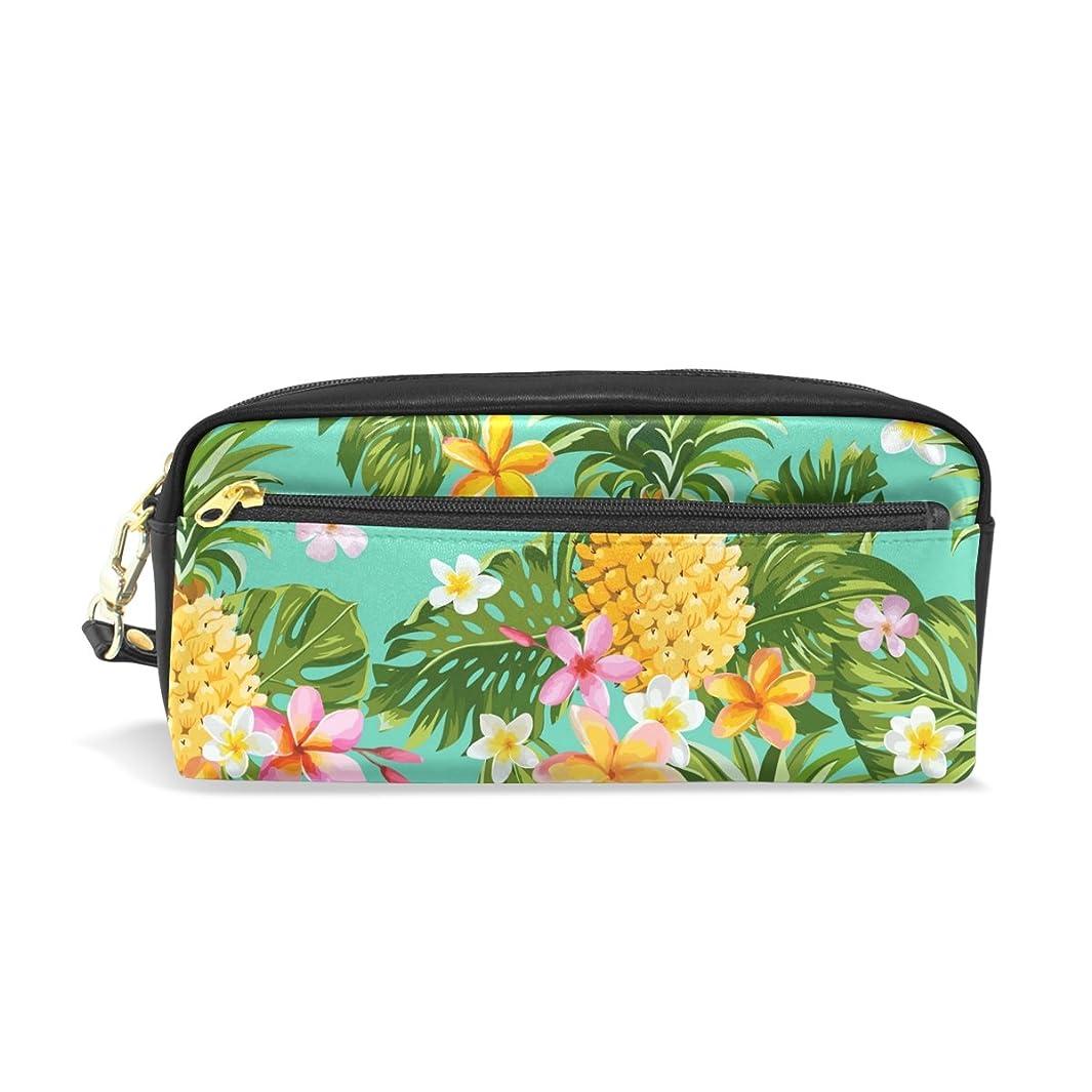 被る威するわずかなAOMOKI ペンケース 化粧ポーチ 小物入り 多機能バッグ レディース パイナップル 花柄 カラフル