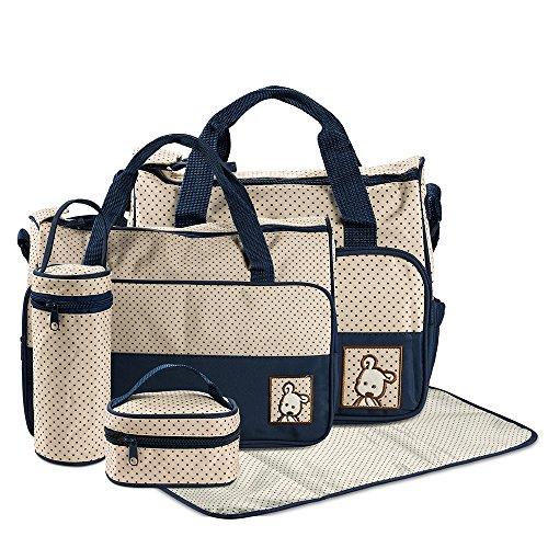 FREESOO Set di 5PCS Borsa Fasciatoio Multifunzione Borsa Cambio Neonato Sacchetto Pannolino per Biberon Materna Pannolino Mat con Grande Capacità Blu