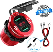 Quick Charge 3.0 Car Charger, Rocketek 12V/24V 36W Waterproof Aluminum Dual USB Charger Socket Power Outlet Adapter with LED Voltmeter & Wire Fuse DIY Kit for Car Boat Motorcycle Marine Bus Truck etc