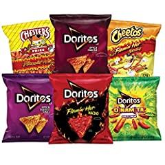 Includes 40 Single Serve Bags Includes: (8) Cheetos flaming' hot crunchy, (4) Chester's flaming' hot fries, (8) Doritos spicy nacho, (6) Doritos spicy sweet chili, (8) Doritos dinamita Chile Limon, and (6) Doritos flaming' hot Easy to carry, easy to ...