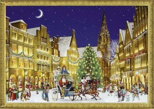 Coppenrath Unique Traditional Victorian Paper Advent Christmas Calendar - Premium Made in Germany - German Town at Christmas