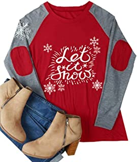 Women Let It Snow Christmas Snowflake Cute Shirt Elbow Patch Raglan Baseball Tees Tops