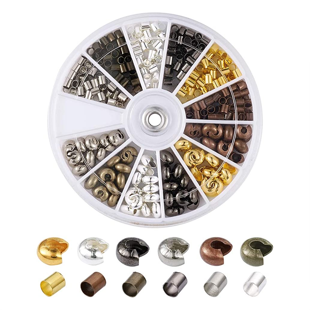 Pandahall 6 Color Column 3x3mm Tiny Brass Tube Crimp Beads and 5x4mm Brass Crimp Knot Covers for Jewelry Making (408pcs/box)