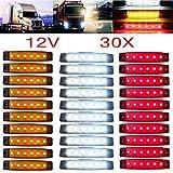 YUK 30 piezas 12/24 V 6 LED rojo + blanco + amarillo marcadores para remolque de camión laterales luces de señalización de camión