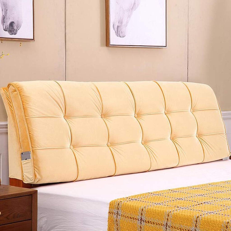 MSNDIAN Coussin de Chevet Tatami Double sans tête de lit Oreiller de Dossier en Tissu Souple Décorations pour la Maison (Couleur   jaune, Taille   150cm)