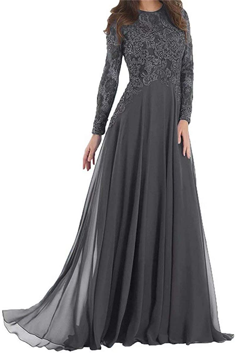 Women's Long Sleeves Mother of The Bride Dresses Lace Chiffon Formal Evening Party Gown
