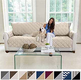 MIGHTY MONKEY Premium Reversible X-Large Oversized Sofa Protector for Seat Width up to 78 Inch, Furniture Slipcover, 2 Inch Strap, Couch Slip Cover Throw for Pets, Dogs, Kids, Cats, Sofa, Beige Latte