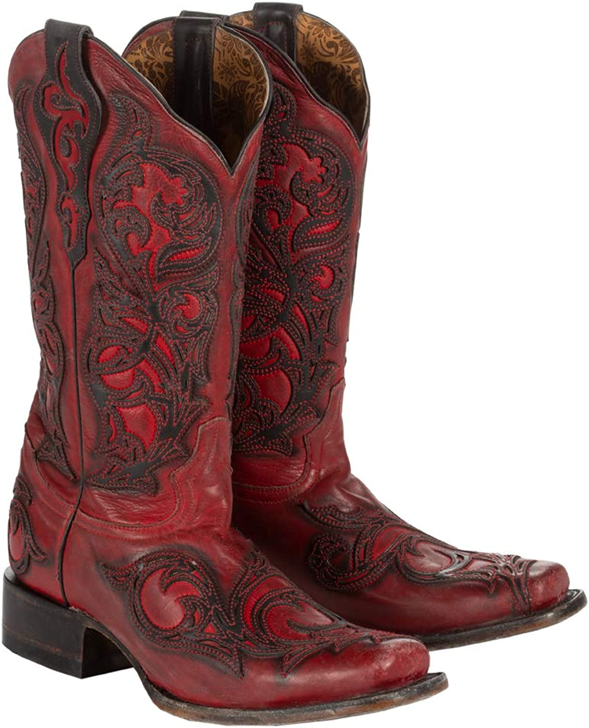 CORRAL Women's Red with Black Overlay Square Toe Cowgirl Boots G1468