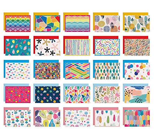Dessie 50 Blank Cards With Envelopes - Set of 50 Different 4x6 Inch Blank Greeting Cards w/ Colored Envelopes & Gold Seals. Colorful Designs - No Repetition. All Occasion Note Cards with Envelopes Set