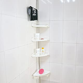 Yosooo 4 Tier Plastic and Metal Bathroom Telescopic Corner Shower Shelf Caddy Pole Wall Rack Storage Organizer Soap Holder, Rustproof and Strong