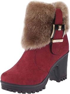 Enkellaarzen voor dames, winter, hoge hakken, korte laarzen, warm gevoerd, modieus, casual, behaaglijk, antislip, sneeuwla...