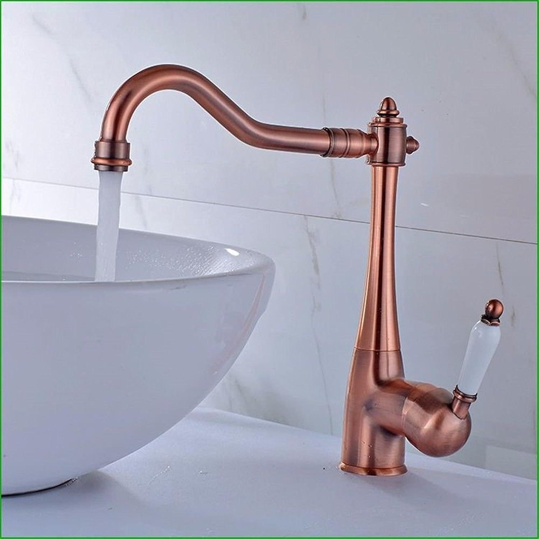 NewBorn Faucet Wasserhhne Warmes und Kaltes Wasser groe Qualitt Retro-Copper Rot Keramik Griff zu Drehen, Um Den Wasser S antiken Tisch Waschbecken Waschbecken Mischbatterie