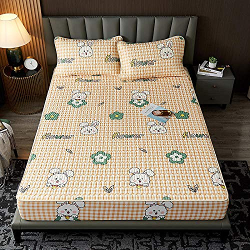 YFGY Laken Premium Textiles King 150 * 200cm, Cool Fitted Bettlaken mit Kissenbezug Sommer Bettwäsche-Sets, Bequeme Bettmatte Soft Bed Schutzhülle gelb 3PCS