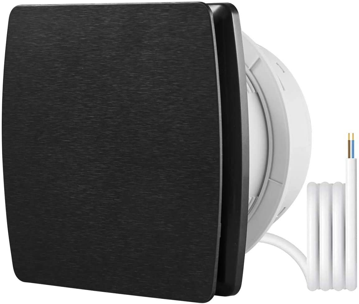 Ventilador extractor de ventilación de 6 pulgadas, HG POWER montado en pared o en el techo con obturador trasero para baño dormitorio 201 m3/h (A-150 mm), color negro