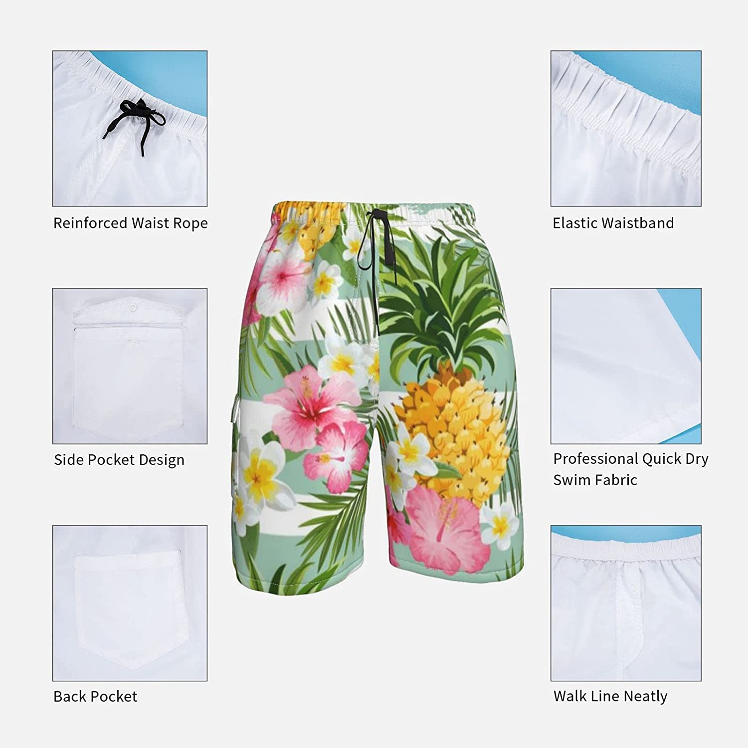 Men's Volley Shorts Elastic Waist Swim Trunk Pink Flowers Vintage Style Classic Boardshort for Beach