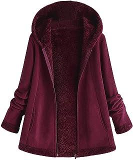 Womens Hoodie Coat Plus Size Winter Warm Solid Parka Jacket Oversize Zipper Plush Overcoat...