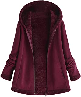 Hoodie Coat for Womens Plus Size Winter Warm Long Sleeve Pocket Oversize Parka Jacket(M~5XL)