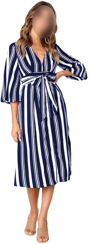 CEFULTY Women's Sexy vNeck Half Sleeve Stripe Dress Backless Dress with Belt (color   bluee, Size   M)