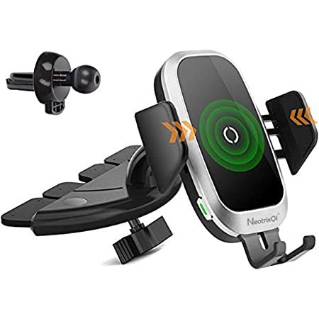 NeotrixQI Car Charger Mobile Phone Holder Air Vent CD Slot Phone Mount Qi Cell Phone Fast Charging Auto Clamping Car Mount Compatible with iPhone 11 Pro XR Xs X 8 Samsung Galaxy Note 9 S10 S9 S8 S7