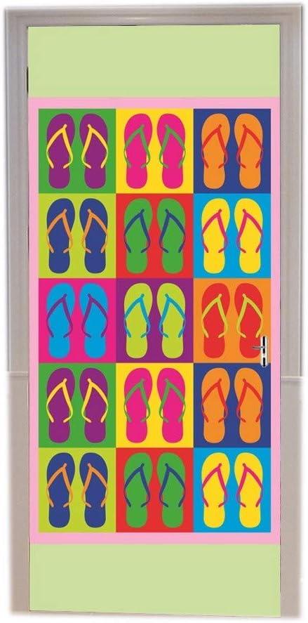 A.Monamour Stickers Muraux 3D Motif Tribal Ethnique Color/é Peint sur Fond De Vieilles Planches en Bois Rustiques Vinyle Chambre Porte Stickers Papier Peint Peintures Murales Porte Autocollants