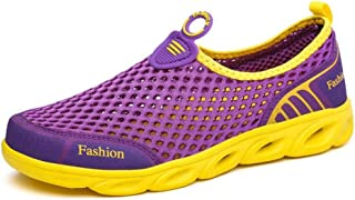 York Zhu Women Fashion Sneakers Round Toe Slip On Lightweight Mesh Sport Running Shoes