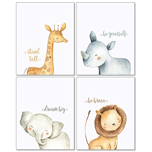 722ae35adcf7 Confetti Fox Safari Baby Animals Nursery Wall Art Decor - 8x10 Unframed Set  of 4 Prints