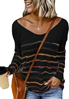 Womens Knit Sweater Striped Long Sleeve Pullover Sweaters V-Neck Jumper Tops