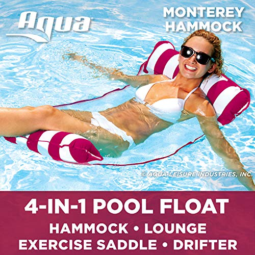 Buy Discount AQUA 4-in-1 Monterey Hammock Inflatable Pool Float, Multi-Purpose Pool Hammock (Saddle,...