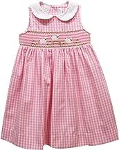 BETTI TERRELL Sheep Smocked Pink Big Check Sleeveless Dress