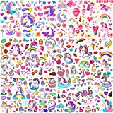 JOEHAPY 6 Sheets Colorful Unicorn Temporary Tattoos For Kids Girls Necks, Fake Face Tattoo Stickers For Children Finger, Rainbow Temp Tatoo Cartoon Boys Party Favor Supplies Birthday Decorations Gifts