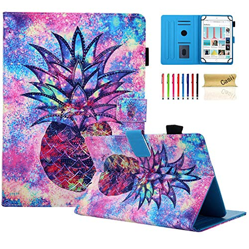 Casii Universal Case for 7.5-8.5 Inch Tablet, Slim Lightweight Smart Flip Kickstand Protective Cover with Card Slots for 7.5' - 8.5' iPad Mini/Samsung/F ire H D 8 Tablet, Pineapple