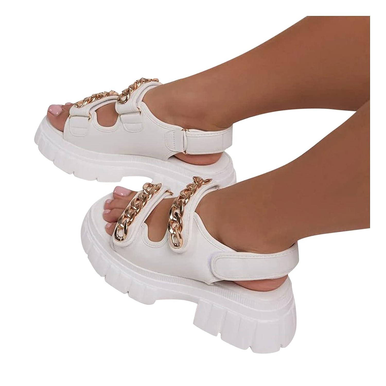Padaleks Same day shipping Womens Platform Wedge OFFer Comfort Open Strap Ankle Sandals