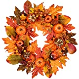 18Inch Artificial Maple Leaf Wreath with Pumpkins Pine Cone and Berry Wreath for Thanksgiving Home Arrangement Decoration