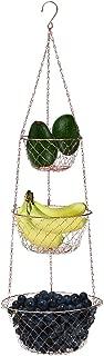 MALMO 3-Tier Wire Fruit Hanging Basket, Vegetable Kitchen Storage Basket (Copper)