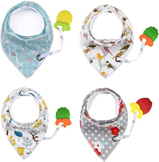 Baby Bandana Bibs with Teether - Drool Bibs Set for Teething Toddler, Idea Gift for New Baby, 0-6 Months,6-12 Months,1-3 Years (4pack)