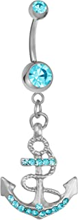 Surgical Steel Aqua Blue CZ Crystal Anchor Nautical Dangle Belly Button Ring