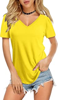 Amoretu Womens Casual Long Sleeve Color Block T Shirt Tops with Pocket