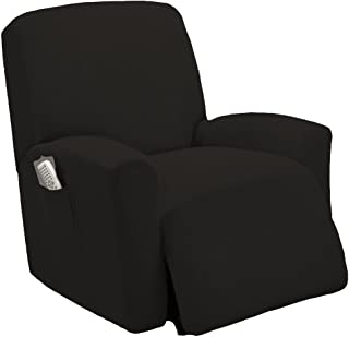 One piece Stretch Recliner Chair Furniture Slipcovers with Remote Pocket Fit most Recliner Chairs (Black)